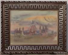 Pituk József V. hagyatékból akvarell Parlament,