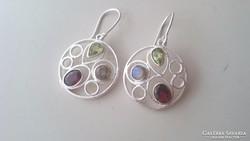 Gyönyörű ezüst fülbevaló több színű citrin kővel