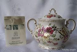 Zsolnay pillangós teacukortartó fedővel 350/26 I.o.