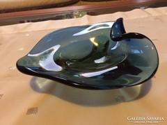 Cseh, régi művészi üveg tálka, kínáló-crystal glass bowl (3)