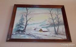 """Téli Tájkép""""olajvászon festmény.55X75"""