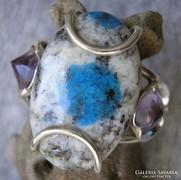 925 ezüst gyűrű 19,3/60,6 mm, K2 kő és ametisztek