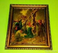 Krisztus keresztre feszítése antik festmény