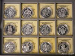 Történelmi féltallérok - 17 darabos SZÍNEZÜST GYŰJTEMÉNY
