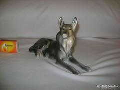 Régi Hollóházi fekvő kutya figura