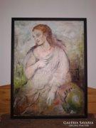 Nagy olaj kép, ismeretlen női portré festmény olajfestmény