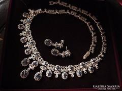 Komoly markazit zafír ezüst collier és fülbevaló - 72 gramm