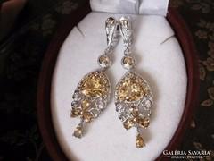 Dús, barokk ezüst fülbevaló aranyszínű citrin kövekkel