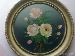 Gyönyörű Jelzett Miniatűr Olaj Festmény +1 Ajándék Kép