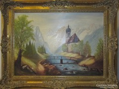 FAULSTICH; Hegyi kápolna 50 cm x 70 cm