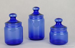 0J423 Három darab zárható kék üveg tároló edény