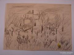 Orosz Gellért 1919-2002) : Ház és fák (1961)