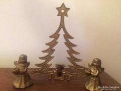 Réz angyalkák és karácsonyfa gyertyatartók asztali díszek
