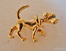 Csodás antik  kutya aranyozott  bross