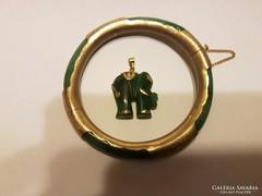 Zöld féldrágakő karkötő, medallion