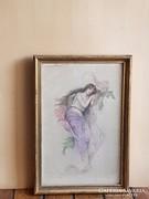 Francia selyem festmény
