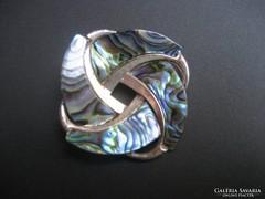 Sterling ezüst, kagyló berakásos régi holland bross