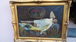 Hölgy a pamlagon - Alkotó: Lukácsné - BERNÁTH ILMA