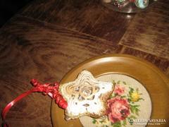 Antik régi vintage karácsonyfadísz horgolt csillag
