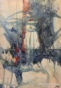 Csató György absztrakt festménye. Vegyestechnika 40x30 cm