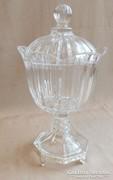Bonbonier asztalközép kínáló mettszett üveg.