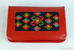 0K272 Piros bőrhatású kézimunka pénztárca