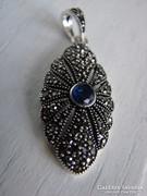 Régi 925 Kék köves ezüst medál markazittal