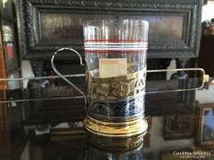 Aranyozott  Orosz Tula Ezüst Teás Pohár Eredeti Üveggel
