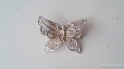Ezüst filigrán pillangó bross, kitűző