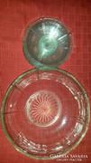 Üveg tál, tányérokkal