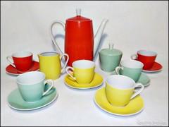 Retro színes porcelán kávéskészlet