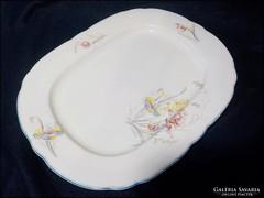Antik fehér virágos porcelán húsos tálca , asztalközép