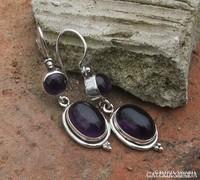 Ezüst fülbevaló ametiszt kővel