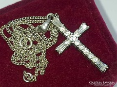 Antik mesterjeles brill kereszt medálos ezüst nyaklánc