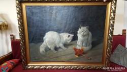 Heyer Artúr: Macskák olajfestménye