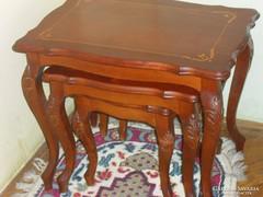 Chippendale intarziás asztal készlet
