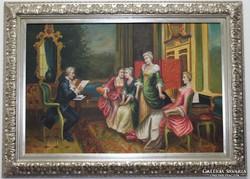 Barokk életkép.Szignós,keretezett olajfestmény!