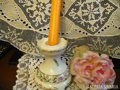 Hollóházi bécsi rózsás, barokk gyertyatartó