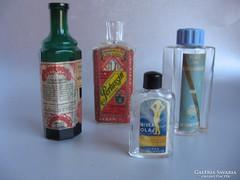 Nagyon ritka, címkés, antik üvegek (4 db)