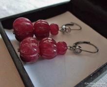 Csodaszép régi rubinköves ezüstfülbevaló 11,63g