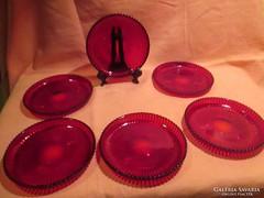 6 db piros üveg kompotos tányér  A019
