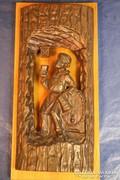 Kocsmajelenet, bronz falikép