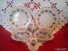 Hollóházi szeder mintás porcelán kávés készlet , szett