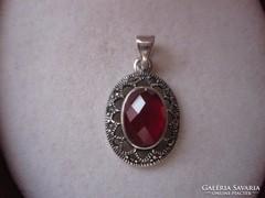 Mesés antik ezüst rubin medál - markazitos, filigrán