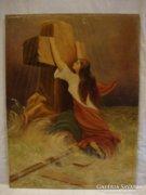 Jelzett olaj - vászon festmény keresztbe kapaszkodó nő