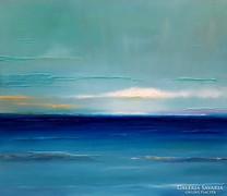 Szalai Krisztián - Átszűrődő fények a parton . 70x80cm olaj.