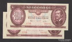 100 forint 1980.  2 db sorszám követő!   UNC!