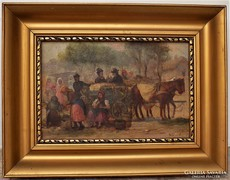 Egerváry Potemkin Ágost (1858-1930) Piacjelenet Antik festmé