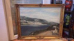 Jelzett olaj-vászon tájkép folyópart festmény kutyás alakkal