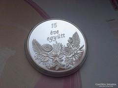 """""""15 éve együtt""""Gyönyörű ezüst ajándékba!31,1 0,999"""